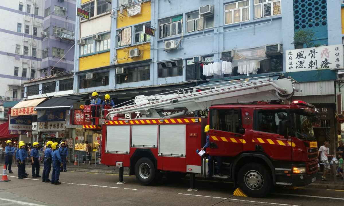 Firefighters were deployed to remove a hanging piece of bamboo and were praised for their efficiency. Photo: Asia Times