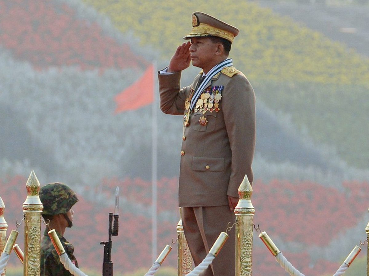 Chief Senior General Min Aung Hlaing, commander in chief of the Myanmar armed forces, salutes during a ceremony to mark the 71st Armed Forces Day in Myanmar's capital Naypyidaw on March 27, 2016. Photo: AFP/Aung Htet