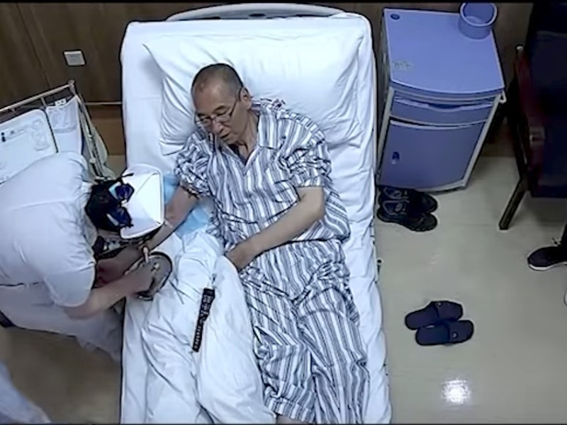 Screenshot of footage released on Youtube of Liu Xiaobo in an unknown location.
