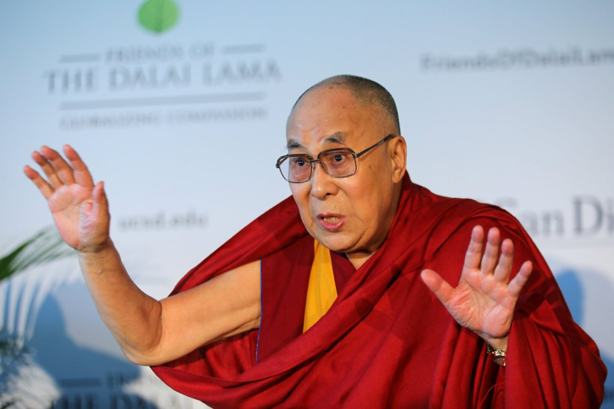 The Dalai Lama speaks at a news conference prior to a speech to thousands at the UC San Diego campus in California, in June 2017. Photo: Reuters/ Mike Blake