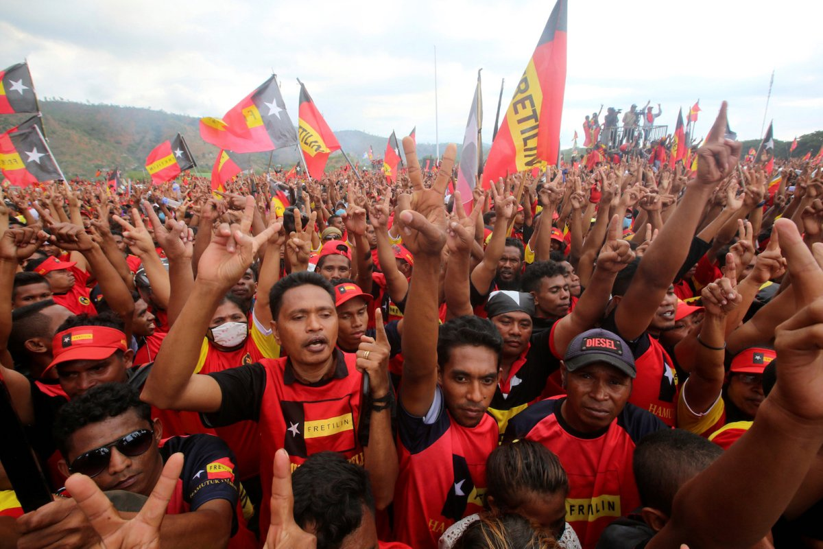 Supporters of the Revolutionary Front for an Independent East Timor (FRETILIN) political party shout during a rally on the last day of campaigning ahead of this weekend's parliamentary elections in Dili, East Timor July 19, 2017.   Photo: Reuters/Lirio Da Fonseca