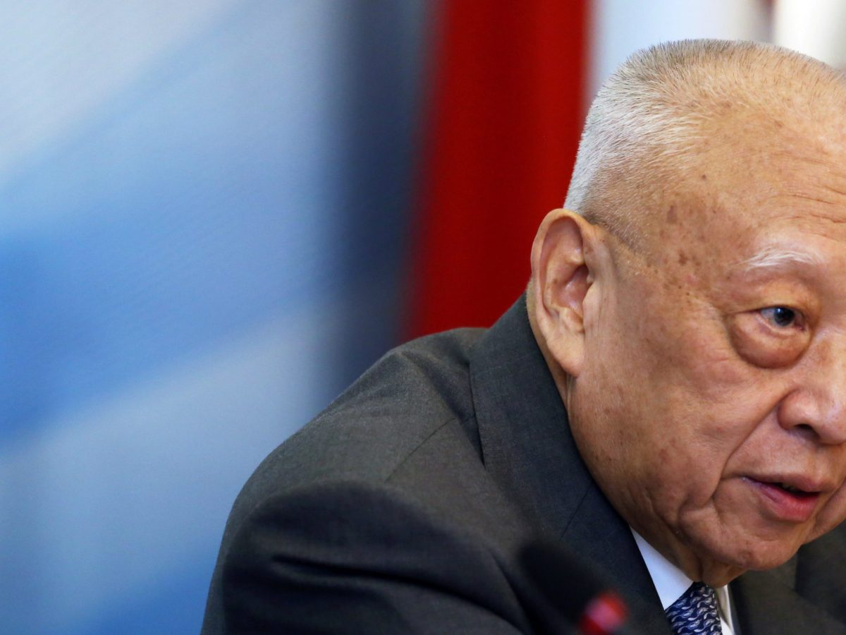"""Tung Chee-hwa speaks during the """"China and the US: One Belt, One Road and 100-Day Plan"""", a discussion hosting a high-level delegation of Chinese leaders, in New York City on June 14, 2017. Photo: Reuters"""