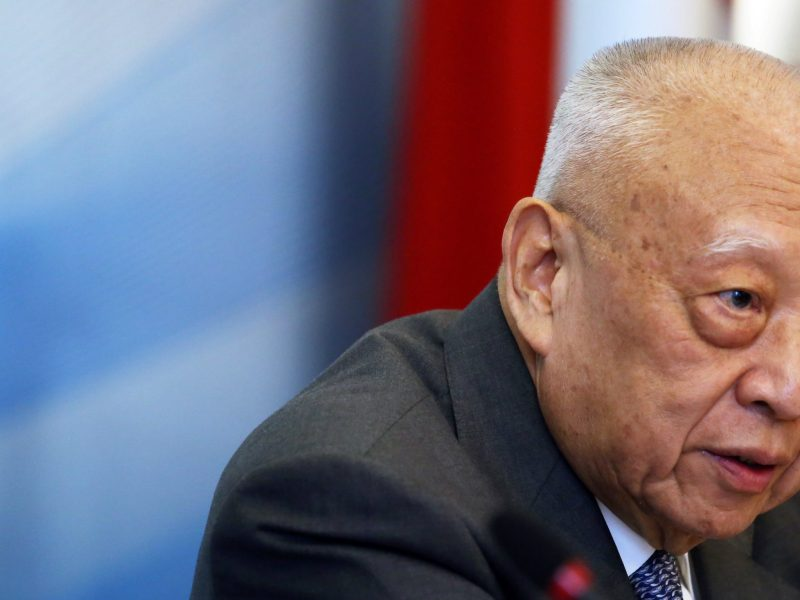 "Tung Chee-hwa speaks during the ""China and the US: One Belt, One Road and 100-Day Plan"", a discussion hosting a high-level delegation of Chinese leaders, in New York City on June 14, 2017. Photo: Reuters"
