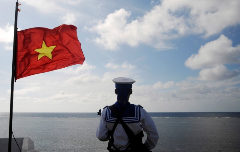 A Vietnamese naval soldier stands quard at Thuyen Chai island in the Spratly archipelago in a file photo. Photo: Reuters/Quang Le