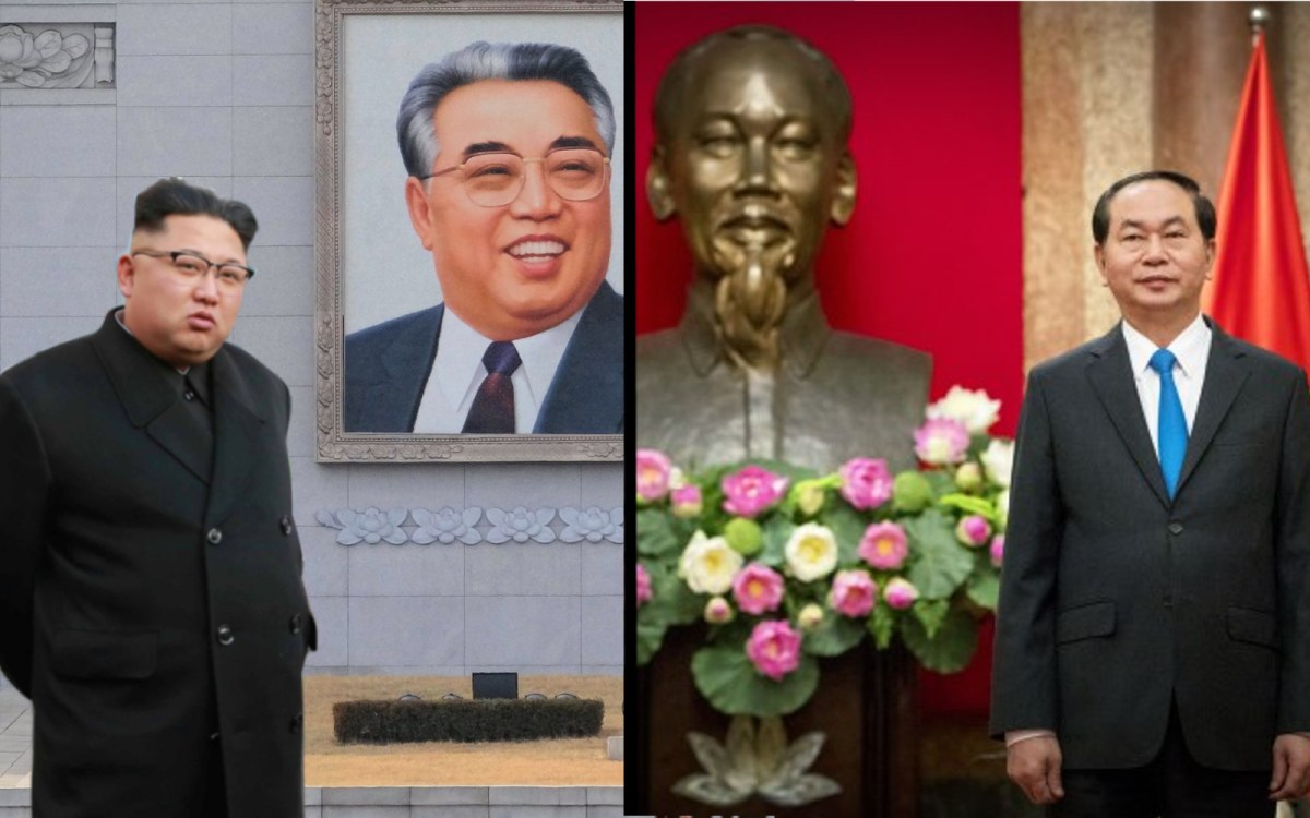 All our troubles seemed so far away: likenesses of North Korean and Vietnamese founding fathers and once close allies smile behind the countries' current leaders, Kim Jong-un and Trần Đại Quang, friends in rhetoric only.