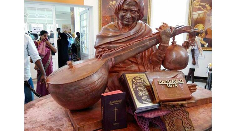 The wooden statue of former president APJ Abdul Kalam at the memorial dedicated to him in Rameswaram on Sunday. Photo: The Indian Express