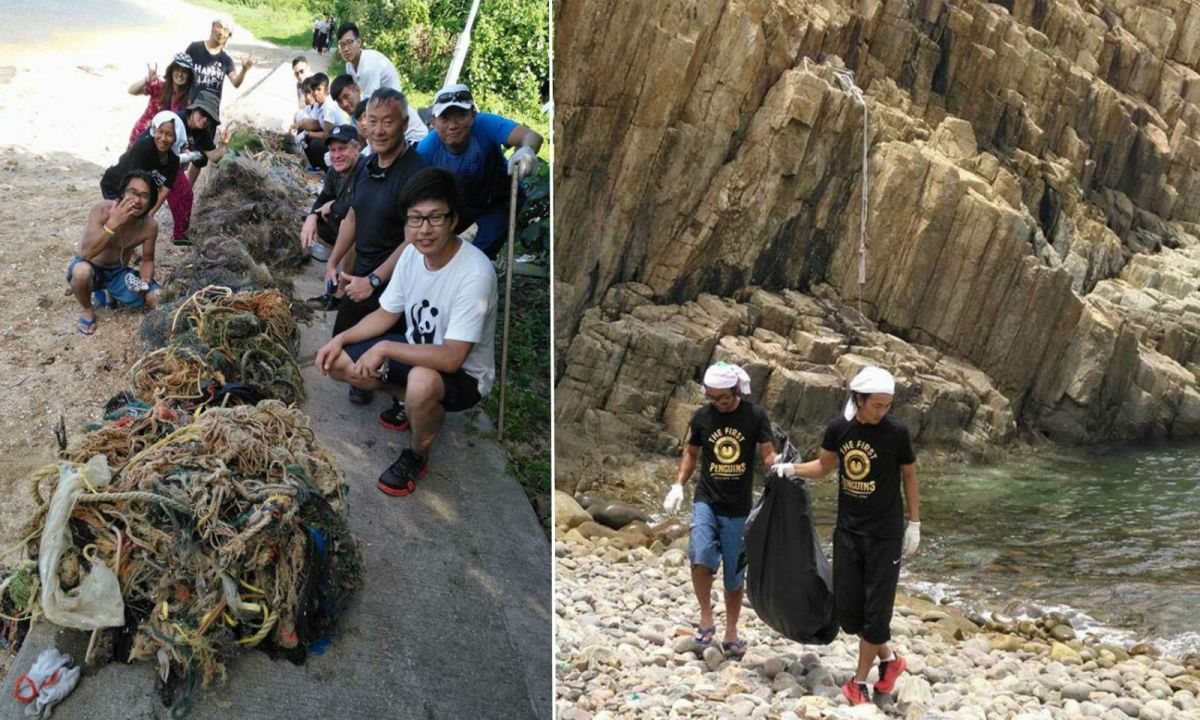 The Japanese duo and the volunteers worked hard cleaning up Hong Kong beaches. Photos: Facebook/The First Penguins