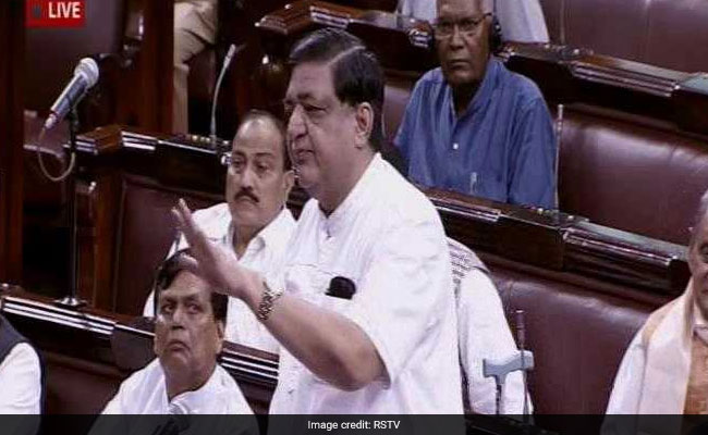 Samajwadi Party leader Naresh Agarwal speaks in Parliament. Photo: NDTV