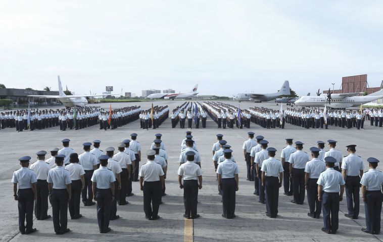 The recently delivered turboprops are seen behind an unrelated awards ceremony held on 24 July at the Villamor Air Base in Manila. Photo: Philippine Air Force