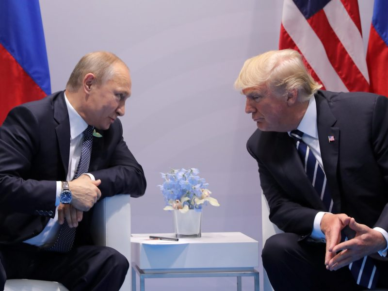 Russian President Vladimir Putin talks to US President Donald Trump at the G20 summit in Hamburg. Photo: Reuters/Carlos Barria