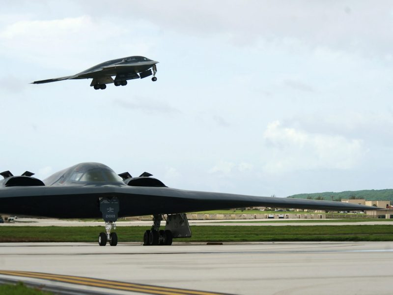 A file photo shows a B-2 Spirit bomber taking off behind another B-2 at Andersen Air Force Base, Guam. Photo: US Air Force via Reuters.