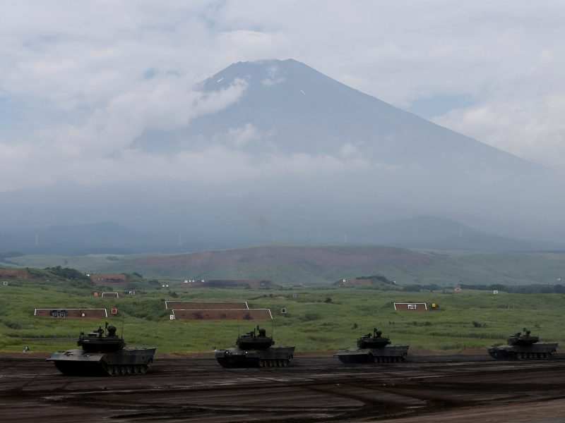 Japanese Ground Self-Defense Force tanks take part in an annual training session with Mount Fuji in the background at Higashifuji training field in Gotemba. Photo: Reuters/Issei Kato