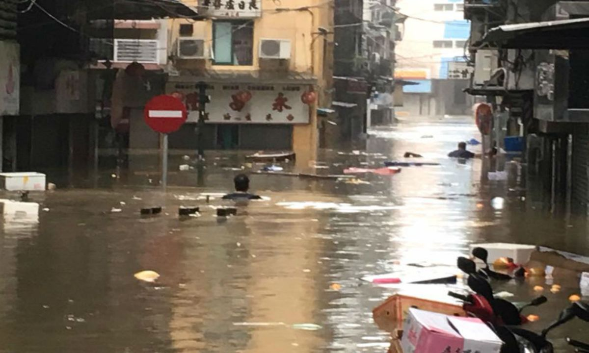 Macau suffered heavy flooding in some areas. Photo: Facebook, Macau Concealers