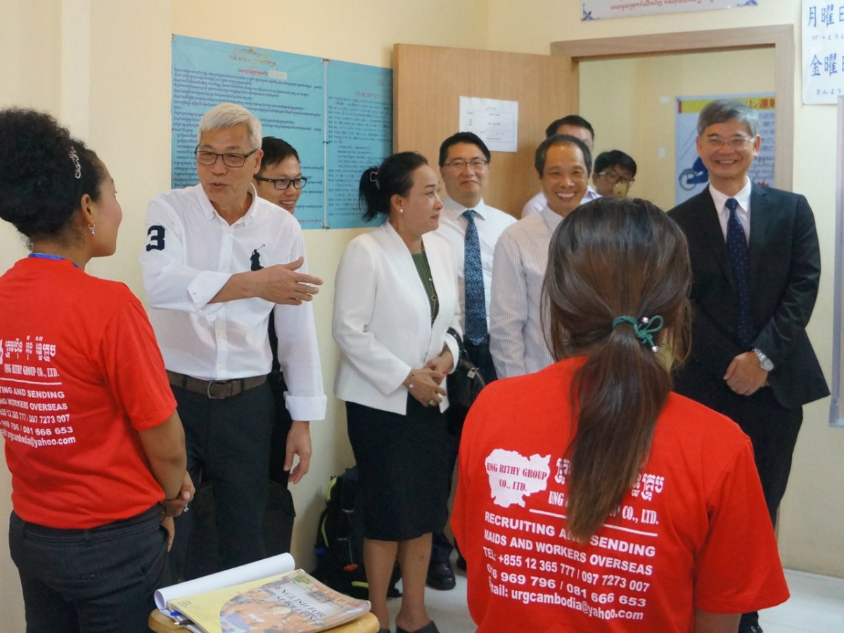 Law Chi-kwong, right, visited Cambodia to push the recruitment of Cambodian maids. Photo: www.lwb.gov.hk