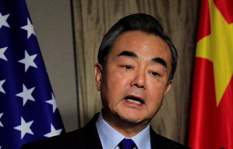 People's Republic of China Foreign Minister Wang Yi answers questions during a interview with reporters, after a bilateral meeting on the sidelines of an Asean meeting held in Manila, Philippines August 6, 2017. Photo: Reuters/Romeo Ranoco