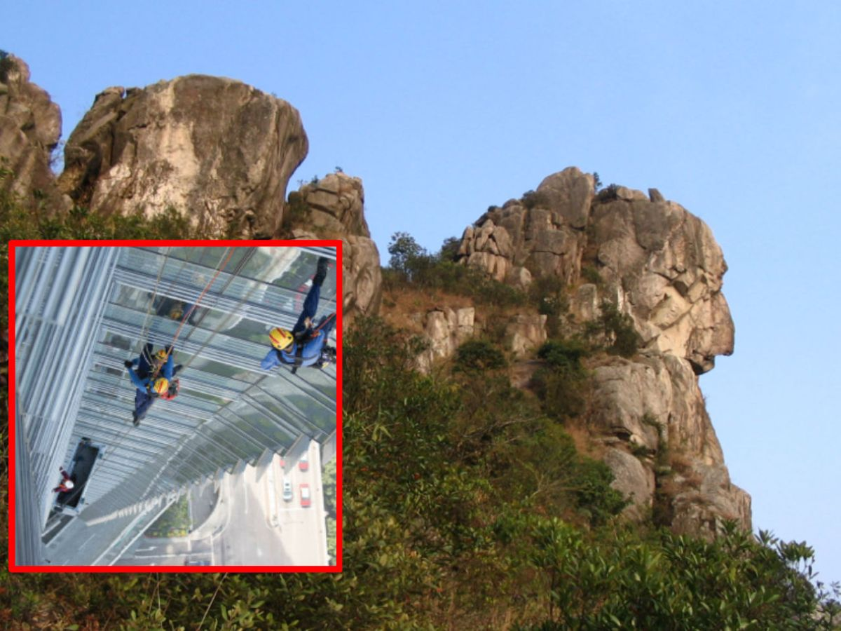 The top of Lion Rock, with the fire brigade high-angle rescue team (inset). Photo: Wikimedia Commons, Minghong, HK Government