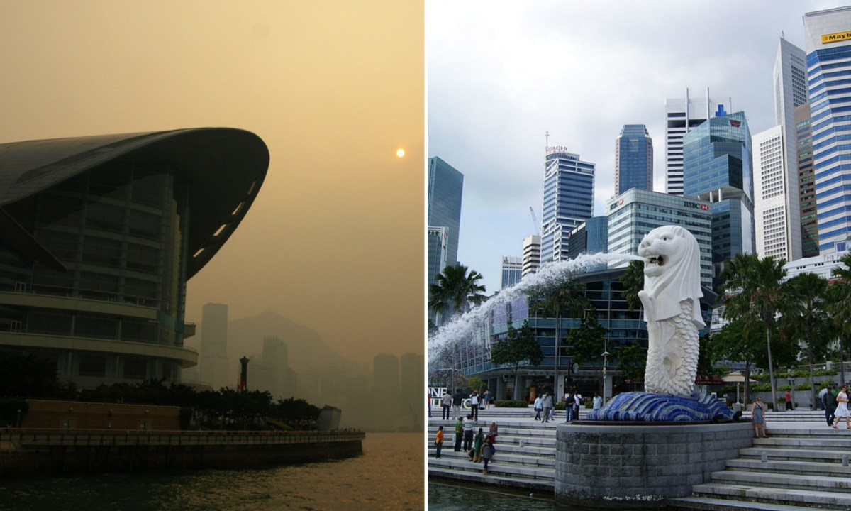 Singapore (right) has beaten Hong Kong for the first time in terms of livability. Photos: Wikimedia Commons, Yym1997, Merlion444