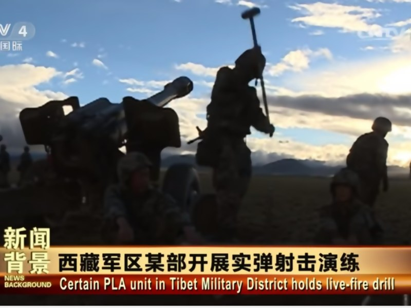 Chinese troops conducting a live-fire drill in Tibet. Screen grab of CCTV footage.