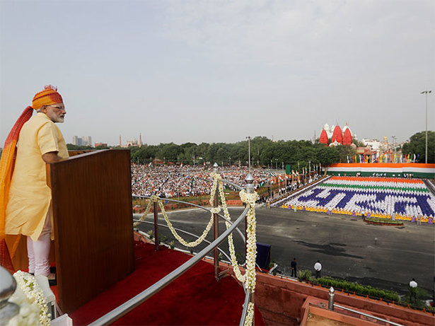 Indian Prime Minister Narendra Modi delivers his Independence Day address in August 2017. Photo: Economic Times