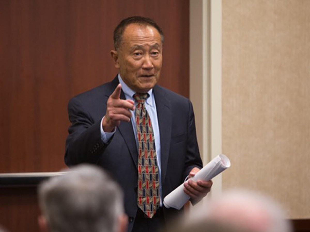S.B. Woo speaks at a meeting of the University of Delaware Association of Retired Faculty. Photo: University of Delaware