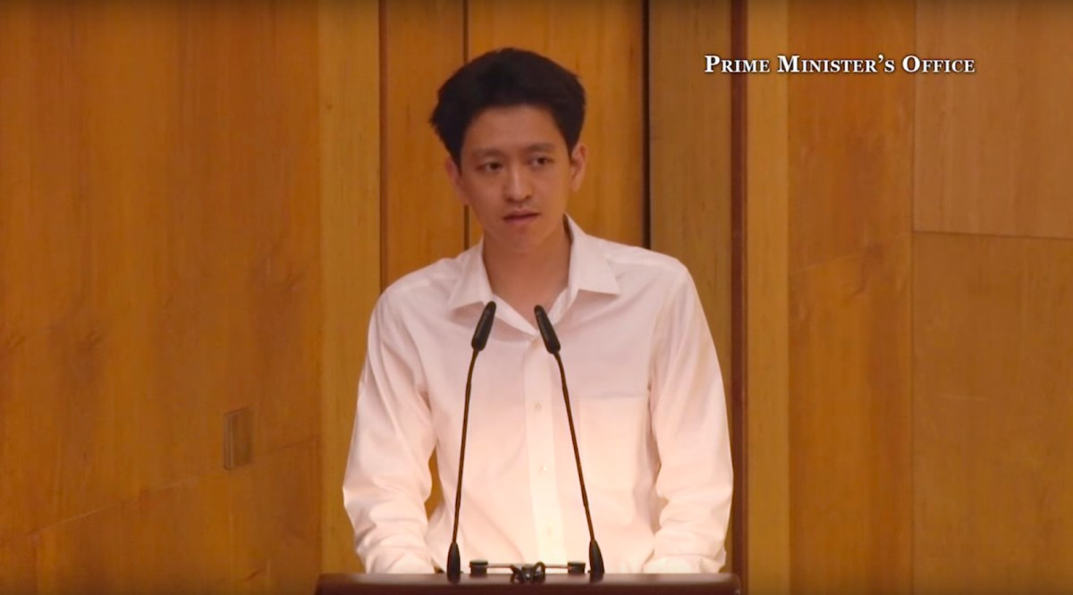 Li Shengwu delivers a eulogy to his late grandfather and Singapore national founder Lee Kuan Yew on March 29, 2015. Photo: Screen Grab/Singapore Prime Minister's Office video