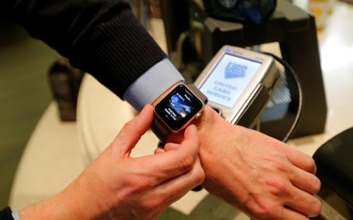 An Apple Watch is used to demonstrate the mobile payment service Apple Pay. Photo: Reuters/Maxim Zmeyev