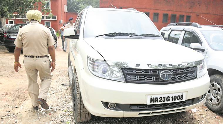 The vehicle allegedly used to stalk Varnika Kundu on Friday night in Chandigarh. Photo: The Indian Express