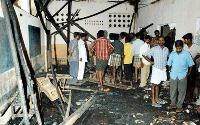 The aftermath of the 2004 Kumbakonam fire that killed 94 children. Photo: Reuters
