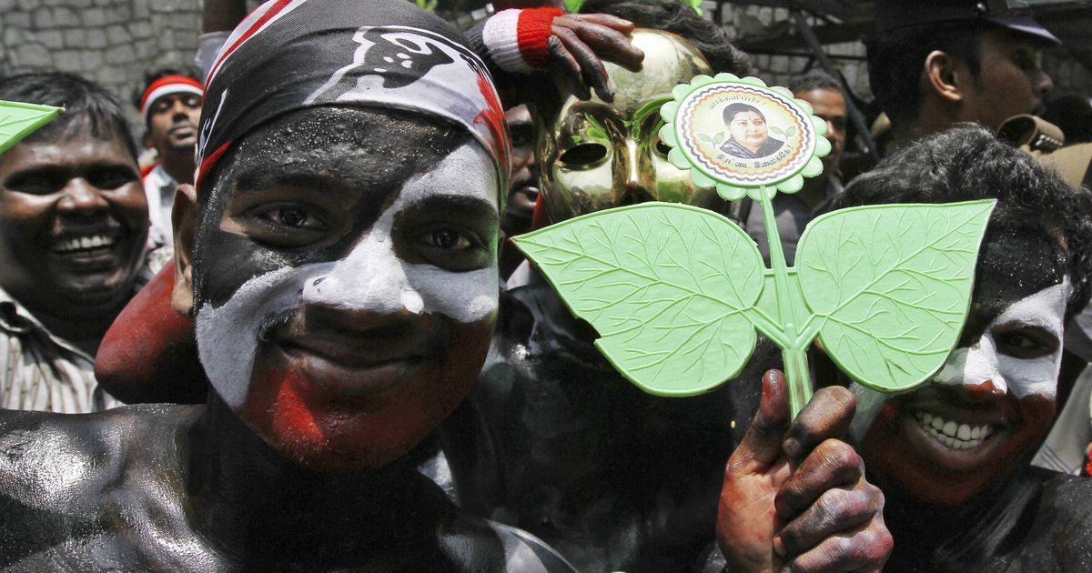 Many voters in Tamil Nadu still support the AIADMK because of their affection for leaders who came from the state's film industry, including the late J Jayalalithaa. Photo: Reuters