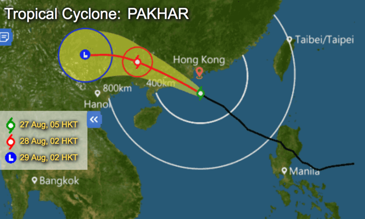 Hong Kong Observatory issues T8 typhoon signal on Sunday morning. Photo: Hong Kong Observatory