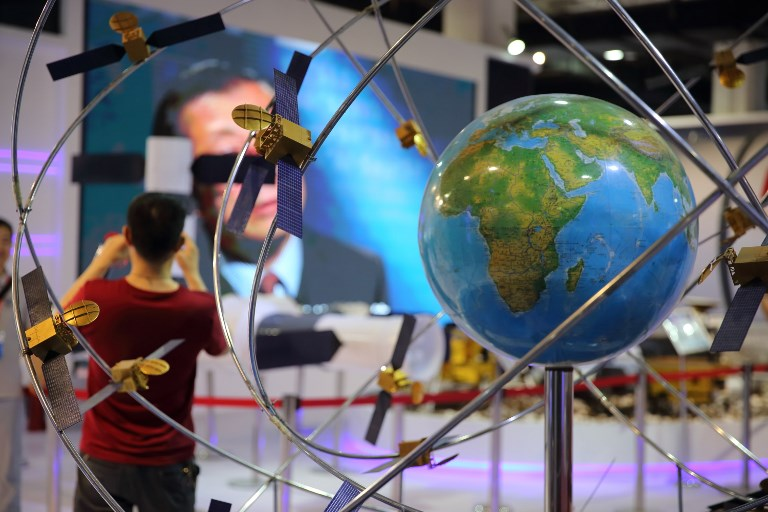 A model of China's Beidou satellite navigation system on display during the 20th China Beijing International High-tech Expo held in June. Photo: AFP