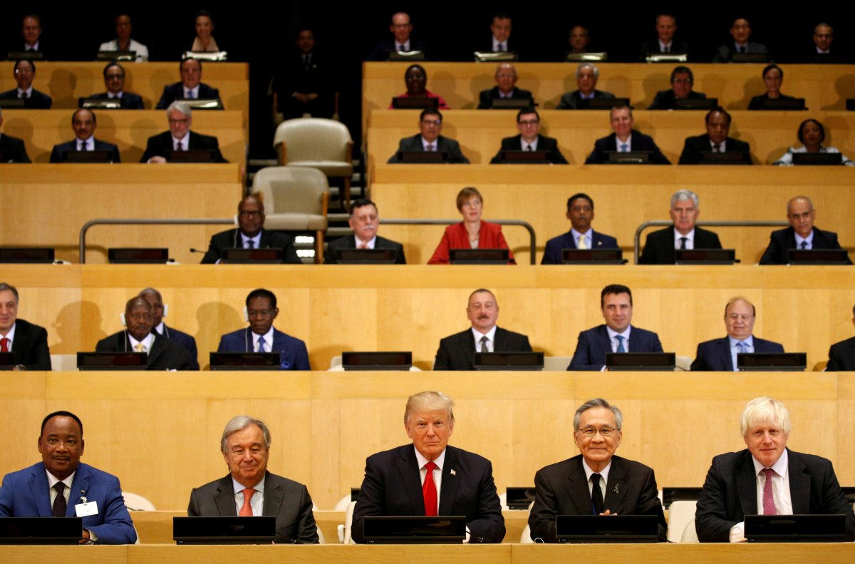 US President Donald Trump participates in a session on reforming the United Nations at UN Headquarters in New York on September 18, 2017. Photo: Reuters / Kevin Lamarque