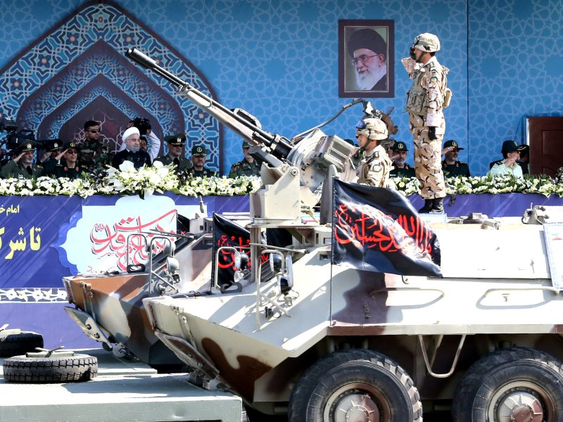 Iranian President Hassan Rouhani speaks during an armed forces parade in Tehran, Iran, on September 22, 2017. Photo: President.ir / Handout via Reuters
