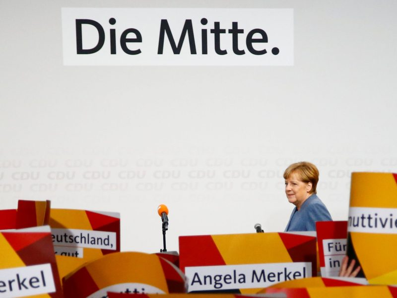 Christian Democratic Union CDU party leader and German Chancellor Angela Merkel reacts after winning the German general election. Photo: Reuters/Fabrizio Bensch