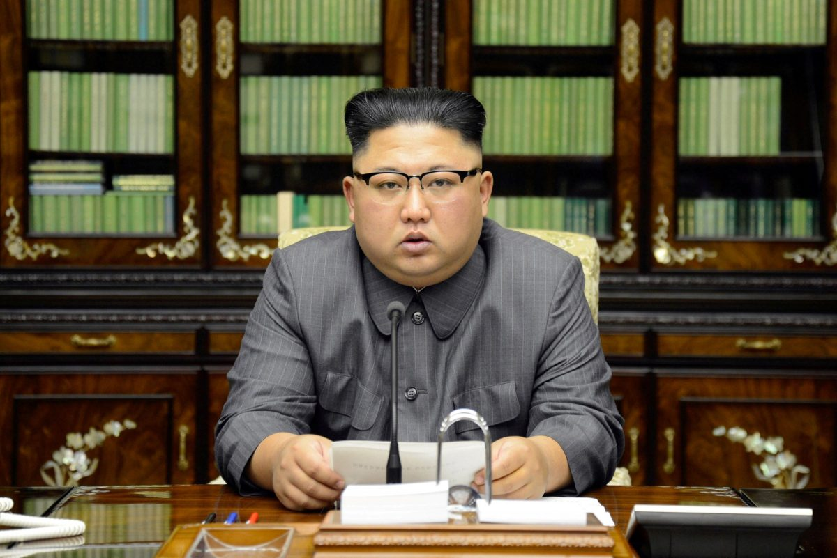 North Korea's leader Kim Jong Un makes a statement regarding US President Donald Trump's speech at the UN general assembly, in this undated photo released by North Korea's Korean Central News Agency in Pyongyang September 22, 2017. KCNA via REUTERS