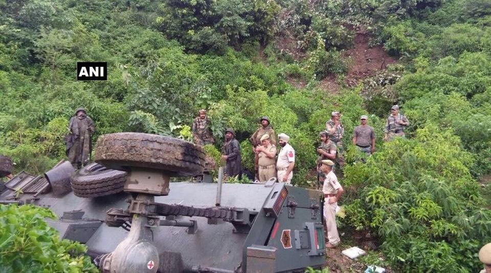 Thirteen soldiers were injured on Friday when an army vehicle plunged into a deep gorge in Jammu and Kashmir's Reasi district. Photo: Hindustan Times
