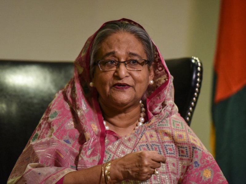Bangladesh's Prime Minister Sheikh Hasina speaks with a reporter during the UN General Assembly in New York in September 2017. Photo: Reuters/ Stephanie Keith
