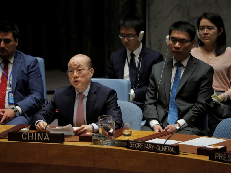China's ambassador to the United Nations, Liu Jieyi, delivers remarks during a meeting of the UN Security Council on North Korea on August 29, 2017. Photo: Reuters / Andrew Kelly