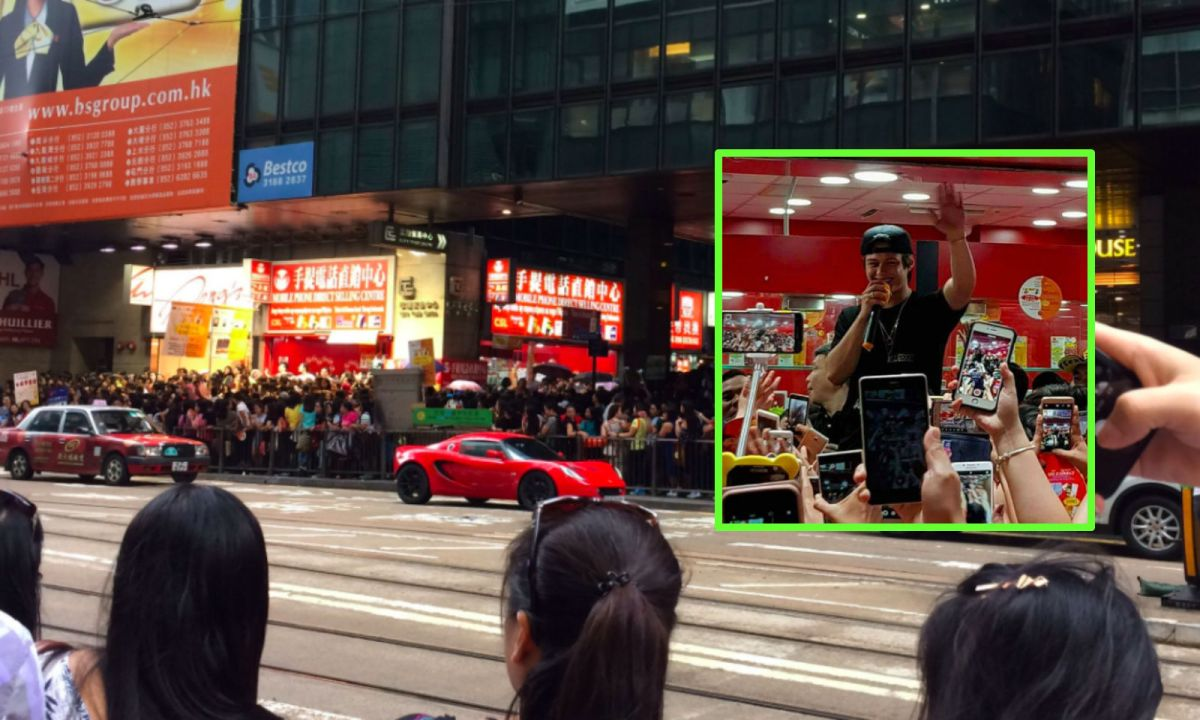 Central, Hong Kong Island; Enrique Gil (inset). Photos: Twitter, Mei Lai, dex