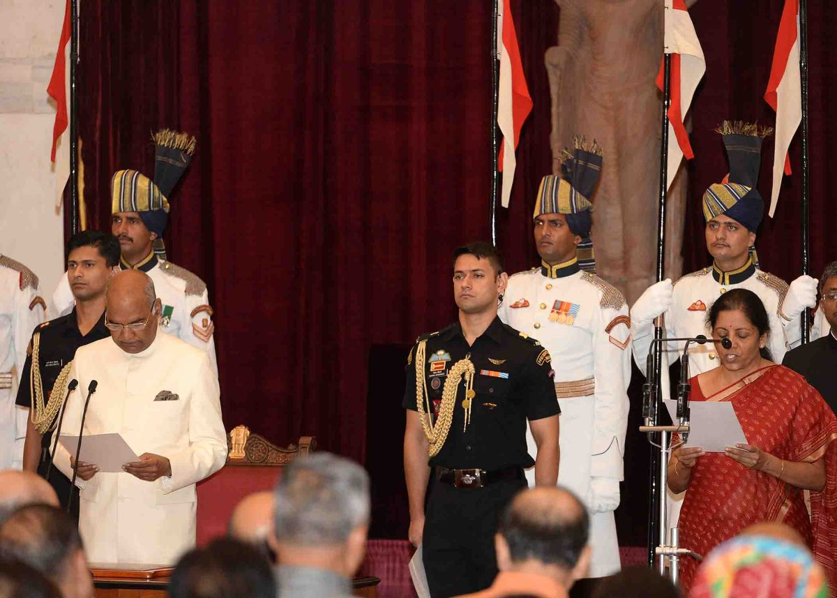 Nirmala Sitharaman was sworn in on Sept. 3, 2017 as India's first woman to serve as defense minister. Photo: Government of India