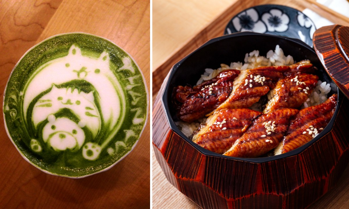 Matcha cappuccino (left) and traditional eel on rice (right). Photo: Jennifer Wong