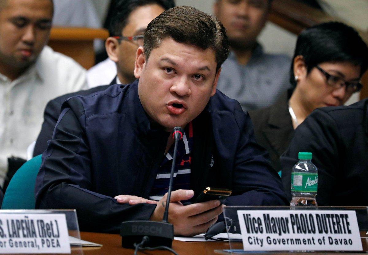 Paolo Duterte, Davao's Vice Mayor and son of President Rodrigo Duterte, testifies at a Senate hearing on drug smuggling in Pasay, Metro Manila, Philippines, on September 7, 2017. Photo: Reuters/Erik De Castro
