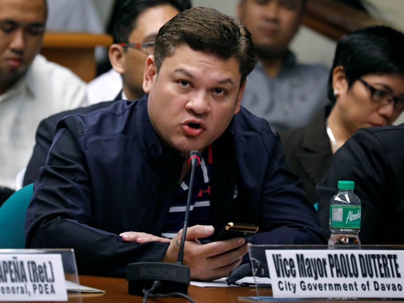 Paolo Duterte, Davao's Vice Mayor and son of President Rodrigo Duterte, testifies at a Senate hearing on drug smuggling in Pasay, Metro Manila, Philippines, on September 7, 2017. Photo: Reuters/Erik De Castro