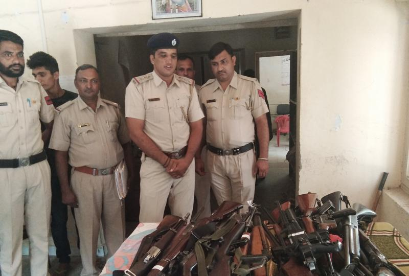 Firearms seized from the Dera Sacha Sauda headquarters on display at the police station in Sirsa on Monday.  Photo: Hindustan Times