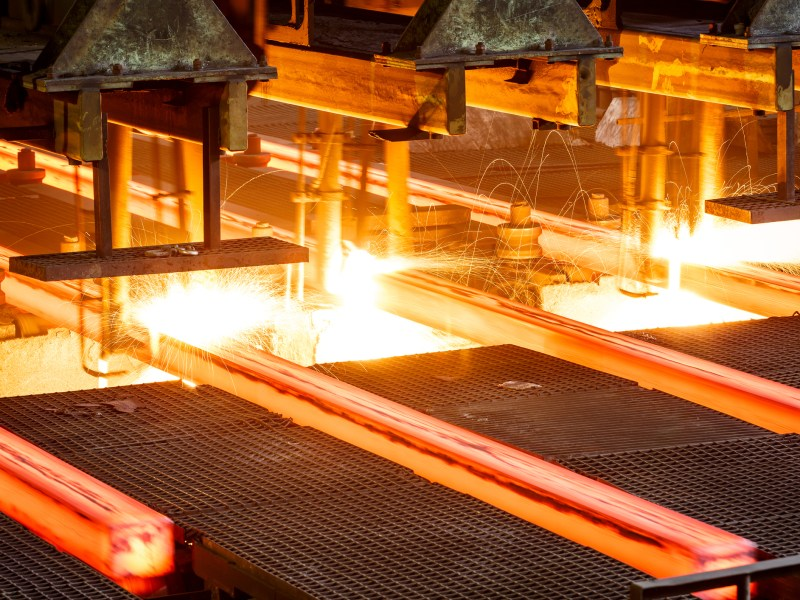 Hot steel on conveyor in a steel mill. Photo: iStock