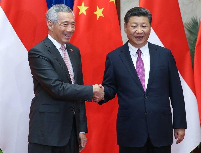 Singaporean Prime Minister Lee Hsien Loong met with Chinese President Xi Jinping and other senior Chinese leaders during a three-day official visit to Beijing that began Sept. 19. The visit is seen as a bid by China to improve relations with the island city-state.Photo: AFP/ Lintao Zhang