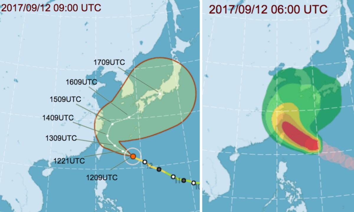 Track of tropical cyclone Talim. Photos: Taiwan Central Weather Bureau