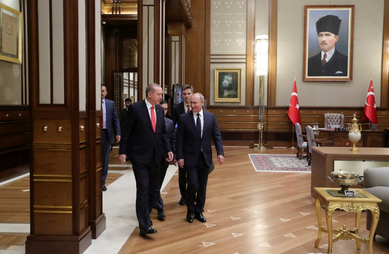 Turkish President Tayyip Erdogan and Russian President Vladimir Putin meet at the Presidential Palace in Ankara, Turkey, on September 28, 2017. Photo: Sputnik / Mikhail Klimentyev / Kremlin via Reuters