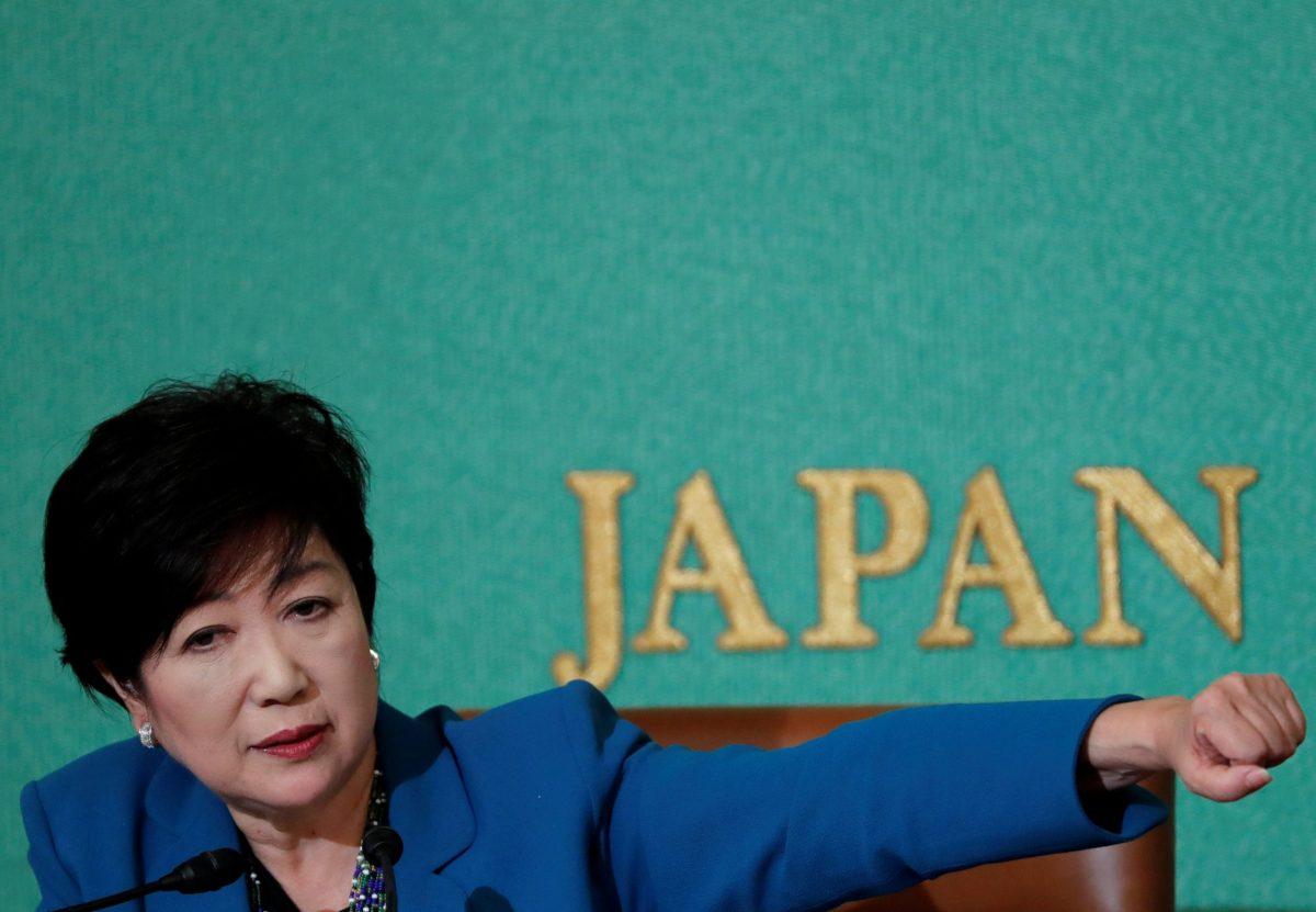 Tokyo Governor Yuriko Koike, head of Japan's Party of Hope, at a news conference at the Japan National Press Club in Tokyo, Japan September 28, 2017.  REUTERS/Kim Kyung-Hoon