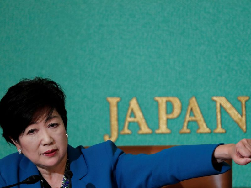 Tokyo Governor Yuriko Koike, head of Japan's Party of Hope, at a news conference at the Japan National Press Club in Tokyo, Japan September 28, 2017.  REUTERS/Kim Kyung-Hoon